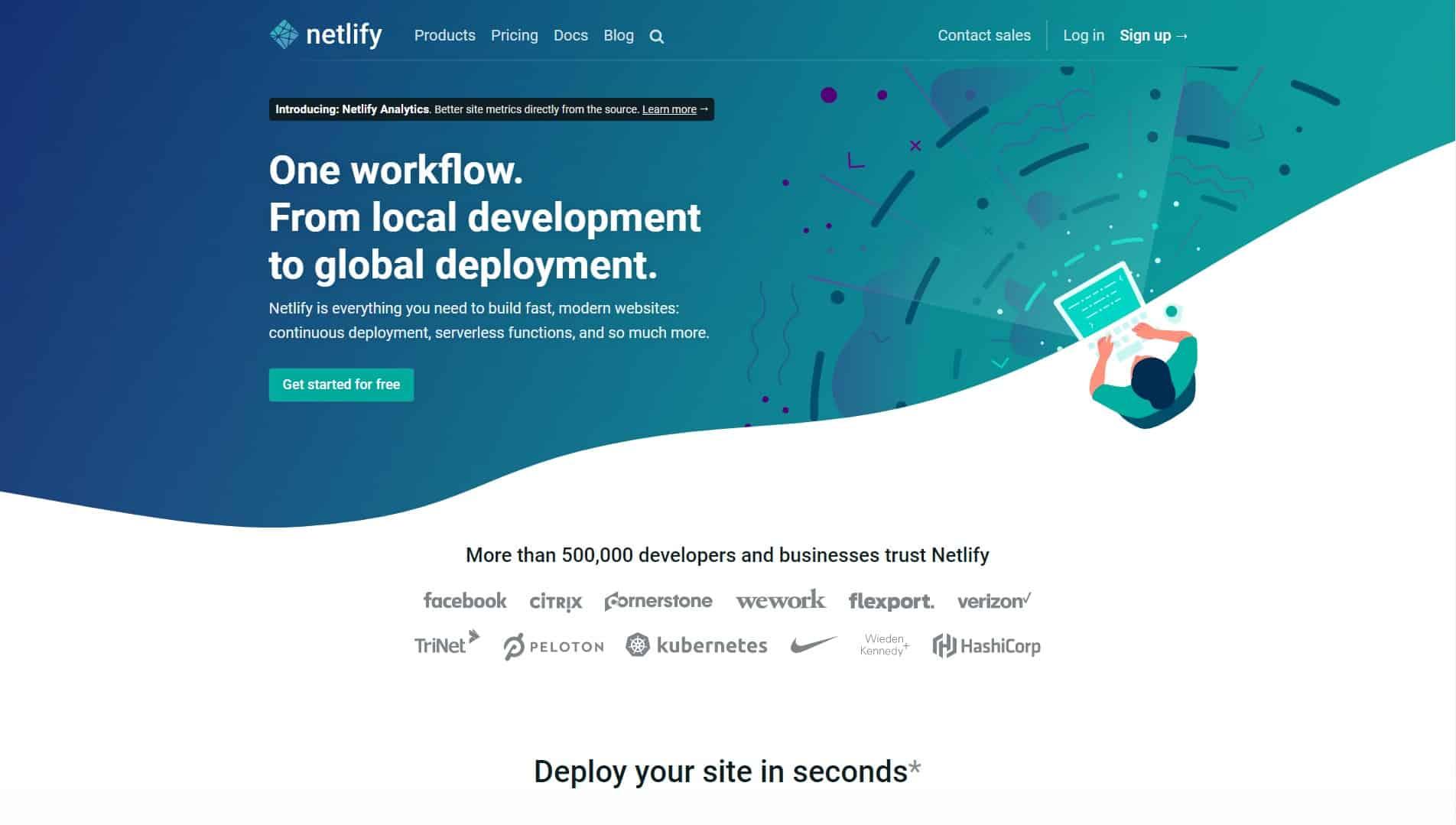 Netlify homepage